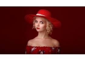 女人,模特,妇女,女孩,帽子,口红,白皙的,短的,头发,壁纸,