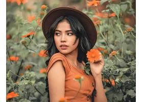 女人,模特,妇女,女孩,黑色,头发,帽子,橙色的,花,壁纸,
