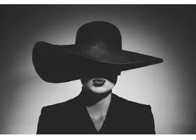 女人,模特,妇女,女孩,帽子,口红,黑色,白色,壁纸,图片