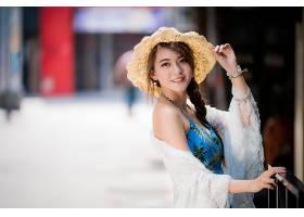 女人,亚洲的,女孩,微笑,帽子,深度,关于,领域,辫子,黑发女人,妇女