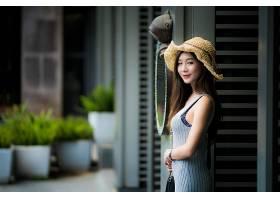 女人,亚洲的,女孩,微笑,帽子,穿衣,妇女,模特,黑发女人,深度,关于