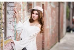 女人,亚洲的,女孩,帽子,深度,关于,领域,妇女,模特,黑发女人,壁纸