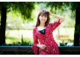 女人,亚洲的,女孩,微笑,妇女,模特,深度,关于,领域,穿衣,黑发女人图片