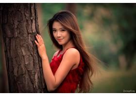 女人,亚洲的,女孩,微笑,黑发女人,长的,头发,模特,妇女,红色,穿衣