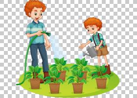 花园里,播放,花,雕像,玩具,绘图,花园,植物,浇水罐,图片