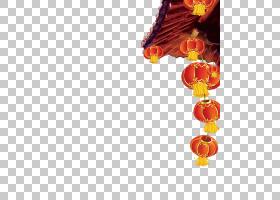 春节剪纸,切花,花瓣,花,橙色,海报,节日,中国,新年,纸灯笼,灯笼,