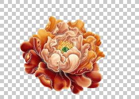 粉红色花卡通,人造花,花瓣,植物,桃子,橙色,牡丹组,牡丹,花瓶,观