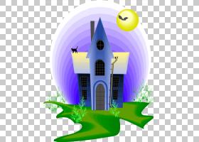 草卡通,草,家,立面,能源,豪斯,紫色,海报,架构,哥特式建筑,
