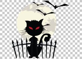 万圣节剪影猫,剪影,黑猫,胡须,黑色,鬼魂,海报,绘画,蝙蝠,万圣节