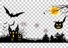 万圣节海报模板,黑白相间,树,剪影,模板,斑鸠,海报,万圣节前夕,