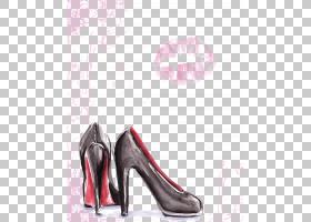 水彩卡通,鞋子,高跟鞋,洋红色,鞋类,户外鞋,粉红色,画布,绘画,时