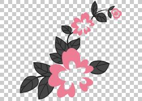 粉红色花卡通,花卉设计,分支,植物群,传粉者,花瓣,叶,花,植物,粉