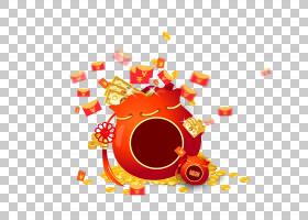 春节红包,红色,圆,橙色,像素,中国新年,平面设计,光栅图形,二维计