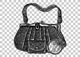 复古背景,黑白,肩包,皮带,行李袋,手提行李,硬币钱包,古董,卡通,