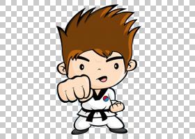 跆拳道卡通,男性,鼻子,脸,脸颊,男孩,卡通,线路,孩子,手,头部,微