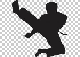 跆拳道卡通,鞋,黑白,手臂,男性,线路,手指,黑色,关节,手,剪影,站