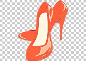 橙色背景,庭院鞋,凉鞋,鞋子,碱性泵,红色,橙色,高跟鞋,鞋类,脚跟,