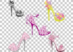 粉花卡通,花瓣,鲜花,粉红色,服装,细高跟鞋,时尚,鞋类,鞋子,高跟