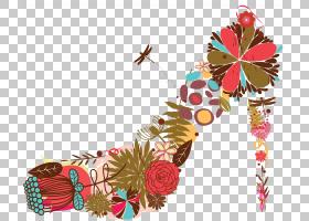 绘制树叶图,花瓣,叶子,鲜花,绘图,时尚,反转,面包车,运动鞋,高跟