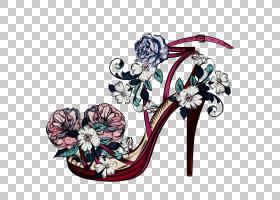 花卉设计,花卉设计,植物,鲜花,鞋子,凉鞋,高跟鞋,鞋类,湿油墨,油