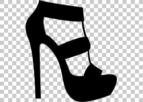 高跟鞋,关节,碱性泵,线路,黑白相间,黑色,高跟鞋,鞋类,时尚,剪影,