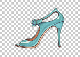 铅笔剪贴画,高跟鞋,青色,鞋类,电蓝,AQUA,碱性泵,绿松石,创造性工