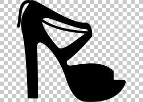 高跟鞋剪影,黑白相间,线路,黑色,高跟鞋,剪影,手提包,服装,鞋类,