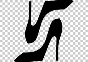 高跟鞋剪贴画黑白鞋,徽标,线路,鞋子,黑白相间,鞋类,高跟鞋,