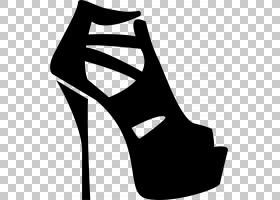 黑线背景,黑白相间,线路,白色,黑色,高跟鞋,步行鞋,服装辅料,时尚