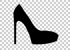 鞋子卡通,徽标,黑白相间,单色,腿,皮革,碱性泵,高跟鞋,时尚,鞋类,