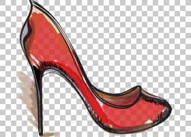 绘画卡通,鞋类,高跟鞋,碱性泵,户外鞋,免费赠送,绘画,绘图,脚跟,