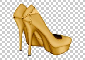 凉鞋,高跟鞋,碱性泵,米色,黄色,绘图,剪影,时尚,凉鞋,庭院鞋,鞋类