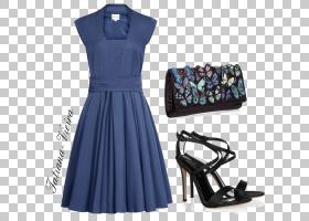 卡通钟,小黑裙,服装设计,电蓝,日间连衣裙,蓝色,正式着装,花边,毕