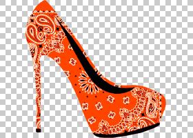 橙色背景,高跟鞋,橙色,碱性泵,桃子,凉鞋,马诺洛・布拉尼克(Manol