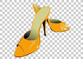橙色背景,高跟鞋,橙色,鞋类,户外鞋,黄色,凉鞋,鞋子,绘图,动画片,