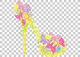 粉花卡通,花卉设计,黄色,花瓣,粉红色,时尚,脚跟,手提包,服装,细