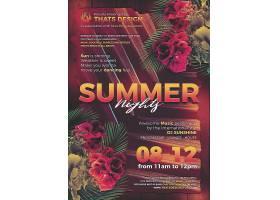 个性夏日夜花卉主题海报设计
