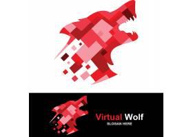 红色狼头主题LOGO设计
