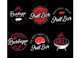 猪牛肉食材烧烤餐饮行业主题图标LOGO设计