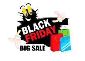 购物袋黑色星期五促销通用矢量banner背景
