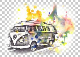 古董车背景,车辆,露营车,经典轿车,海报,版画制作,水彩画,绘画,面