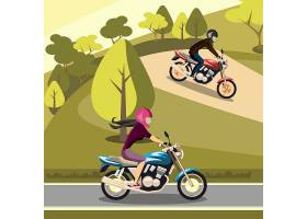 摩托车竞赛主题人物角色矢量插画设计
