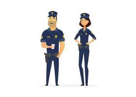 男女警察主题人物角色矢量插画设计
