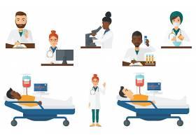 医疗卫生医护人员护士医生体检人物形象插画设计