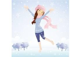 冬季圣诞节女孩主题人物角色矢量插画设计