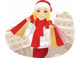 圣诞节购物女孩主题人物角色矢量插画设计