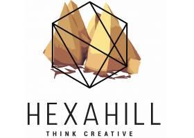 创意时尚线条边框与渐变几何体组合LOGO图标设计