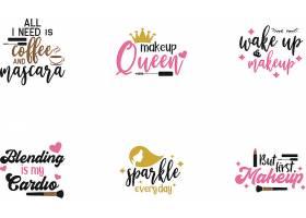 个性艺术英文字体化妆美容主题标签设计