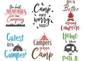 个性艺术英文字体露营主题标签设计