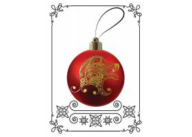 带金色动物剪纸的圣诞装饰彩球挂球设计